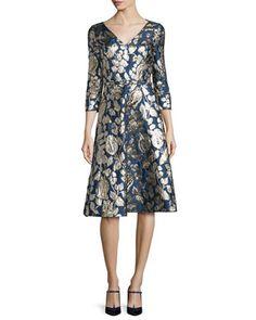 Foil-Floral+3/4-Sleeve+V-Neck+Dress,+Navy+by+Oscar+de+la+Renta+at+Bergdorf+Goodman.