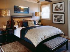 LOVE this!!!! Browns, navy blue and gold really rich and still masculine. the artwork makes it!
