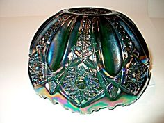 Vintage Ruffled Edge Purple Carnival Glass Bowl