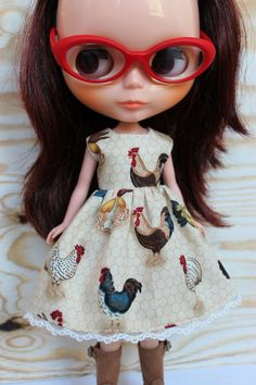 BLYTHE doll Its my party dress   chicken coop by TiredMomKnits
