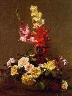 Gladiolas and Roses flower painter Henri Fantin Latour art for sale at Toperfect gallery. Buy the Gladiolas and Roses flower painter Henri Fantin Latour oil painting in Factory Price. Henri Fantin Latour, Oil Painting Flowers, Oil Painting On Canvas, Canvas Art, Acrylic Flowers, Painting Still Life, Oil Painting Reproductions, Flower Oil, Cool Paintings