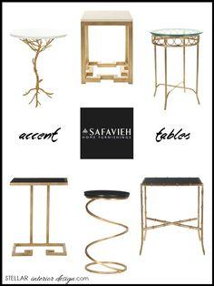 Accent tables, Gold tables, Safavieh Home, interior design boards, e-design, e-décor, online interior design services