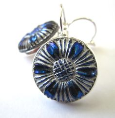 Vintage glass button earrings, blue & silver floral