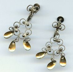 Vtg KIS Sterling Norway Solje Filigree Screw Back Dangle Earrings 4.9 Grms  $24.95