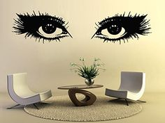 Big Eye Lashes Wall Decals Makeup Girl Woman Cosmetic Beautiful Eyes Wink Fashion Vinyl Sticker Beauty Salon Home Decor Living Room Decor Art Mural Ms713 >>> Read more at the image link.