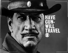 "Have Gun - Will Travel (1957–1963)  TV Series  -   25 min  -  Drama | Western   Professional gunfighter Paladin was a West Point graduate who, after the Civil War, settled into San Francisco's Hotel Carlton were he awaited responses to his business card: over the picture of a chess knight ""Have Gun, Will Travel ... Wire Paladin, San Francisco.""  http://www.youtube.com/watch?feature=player_embedded=tgvxu8QY01s#!"