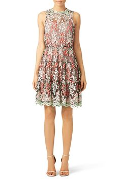 A delicate floral layer makes this ERIN Erin Fetherston dress charming. Try it with simple pumps for a wedding reception.