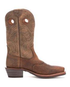 Men's Ariat Heritage Roughstock Square Toe, Size: 13 2E, Shiny Black/Bar Top Brown Full Grain Leather