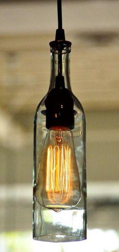 Wine Light Hanging Fixture, pendant lighting, wine bottle lighting, champagne lighting, ceiling light hanging fixture, glass bottle light