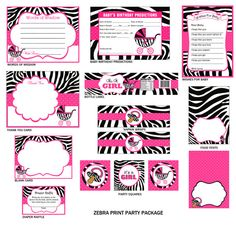 Zebra Print Baby Shower Party Package by ADTRCustomDesigns, $20.00