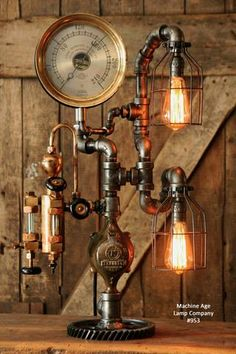 Steampunk Industrial Pipe Lamp, Antique Oiler and Steam Gauge - #953