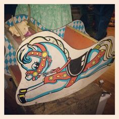 Vintage Rocking Horse in primary colors. Great for a fabulous display! FOR SALE at ALLEY OOP VINTAGE!