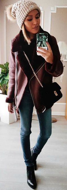 #winter #outfits  maroon leather zip-up jacket