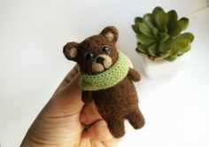Teddy Bear wool brosche pin jewelry Brown bear brooch Miniature teddy broach Teddy lover gift Everyday jewerly Winter holiday gifts