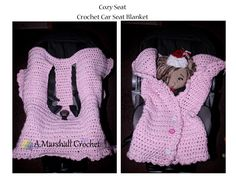 Cozy Seat: A Crochet car seat blanket that actually fits all types of car seats. Buttons up the front, slides in and out easily without having to remove the belts. --a.marshallcrochet--