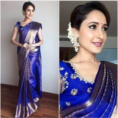 Telugu Actress Pragya Jaiswal Stills In Traditional Blue Saree Pattu Saree Blouse Designs, Saree Blouse Patterns, Bridal Blouse Designs, Indian Bridal Sarees, Bridal Silk Saree, Saree Wedding, South Indian Sarees, Telugu Wedding, Wedding Attire
