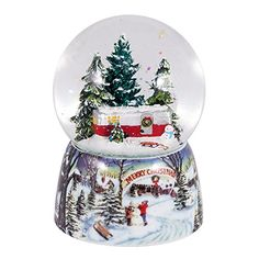Merry Christmas Trailer in Woods Music Snow Globe Glitterdome  - Plays Tune Over the River and Through the Woods