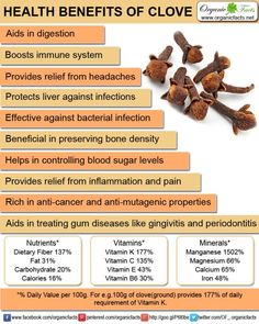 Cloves offer many health benefits, some of which include aid in digestion, antimicrobial properties, fight against cancer, protection of liver, boosting of immune system, diabetes control, bone preservation, anti-mutagenic properties, fight against oral diseases, headaches and aphrodisiac properties.