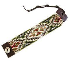 Chan Luu Beaded Green Mix Seed Bead Cuff Leather Bracelet