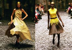 """A yellow bead and horse hair dress and laser cut and metal work gown from the """"Eshu"""" Fall/Winter 2001-2002 collection / Alexander McQueen Savage Beauty Exhibition Victoria & Albert museum London / via fashioned by love British fashion blog"""
