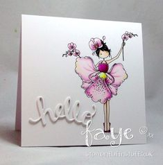 Stamping Bella JANUARY 2017 rubber stamp release- Tiny Townie Garden Girl ORCHID card by Faye Wynn Jones
