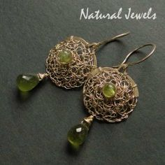 Organic Golden Green - Earrings handcrafted from 14K Goldfilled wire and Peridot and Vassonite - Made by Natural Jewels