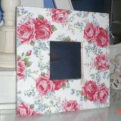 Decoupage shabby chic mirror in wooden frame