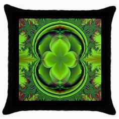 Green+Clover+Throw+Pillow+Cases+(Black)+Throw+Pillow+Case+(Black)