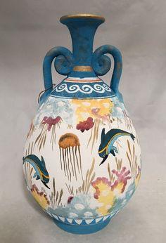 Minoan Dolphins Swimming in Ocean Blue Two Handles Greek Vase 10H