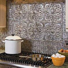 New House ideas Beautiful Rustic Metal Kitchen Backsplash Tile Ideas For Your Awesome Kitchen / Tin Tile Backsplash, Tin Tiles, Subway Tiles, Backsplash Ideas, Tile Ideas, Backsplash Design, Rustic Backsplash Kitchen, Decorative Tile Backsplash, Backsplash Wallpaper