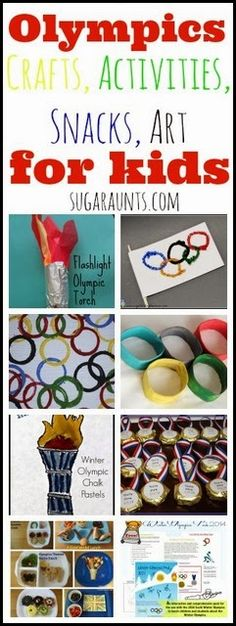 Olympic ideas for kids: art, crafts, snacks, activities, games for kids and families. From Sugar Aunts