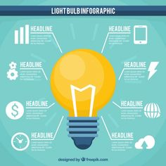 Infographic template with yellow bulb and white icons Free Vector