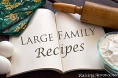 Large Family Recipes (From a mom of 8!) - Cheeseburger Soup, Chicken Pot Pie Casserole, Vietnamese Pho (soup), Stromboli, Crock Pot Lasagna, Challah Bread, Quick Rise Cinnamon Rolls, Sky High Biscuits, Pumpkin Crumble, and even how to make home-made Vanilla! LURVE. (Nearly all recipes are from scratch, and have mostly healthy ingredients! I'm impressed!)
