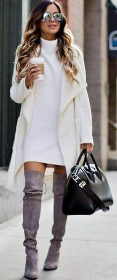 Over the knee boots are perfect for winter date night outfits! Cute winter date night outfits to wear on your next date! These ideas are perfect for casual or fancy dates in the chilly weather! Fashion Mode, Fashion Night, Look Fashion, Womens Fashion, Fall Fashion, Fashion Trends, Street Fashion, Fashion News, Workwear Fashion