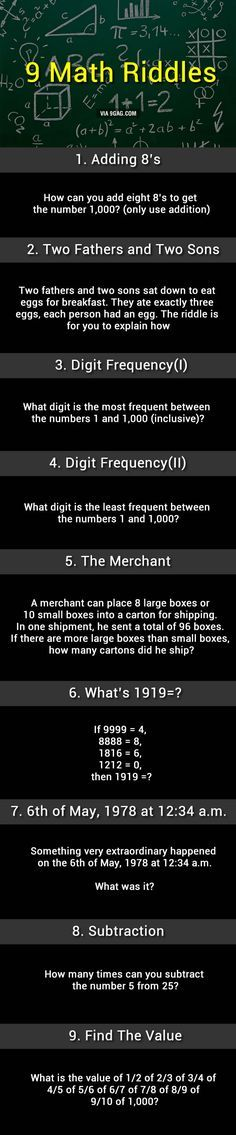 9 Math Riddles, Can You Solve Them?