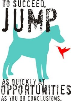 to succeed, jump as quickly at opportunities as you do conclusions. (smooth hair fox terrier)