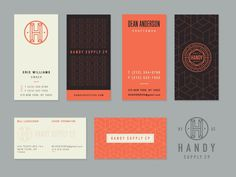 Handy Supply Business Cards /// By Steve Wolf Examples Of Business Cards, Vertical Business Cards, Unique Business Cards, Professional Business Cards, Business Card Design Inspiration, Business Design, Business Branding, Corporate Identity, Identity Branding