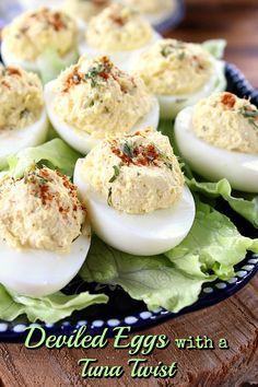 Deviled Eggs with a Tuna Twist - These deviled eggs with a tuna twist are super tasty! Eggs and tuna together make for one great tasting appetizer! Delish!