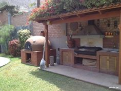 Possible cover for BBQ grill in place of wood grill shown here. Outdoor Rooms, Outdoor Gardens, Outdoor Living, Outdoor Decor, Outdoor Oven, Outdoor Cooking, Pergola, Gazebo, Parrilla Exterior
