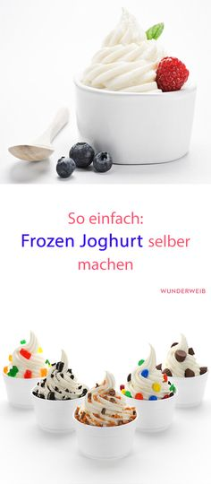 Frozen yogurt: Just do it yourself! Frozen yogurt is the perfect refreshment on warm summer days, tastes incredibly delicious and is easy to prepare. Healthy Chicken Recipes, Mexican Food Recipes, Beef Recipes, Vegetable Recipes, Appetizer Recipes, Dessert Recipes, Snacks Recipes, Dinner Recipes, Summer Recipes