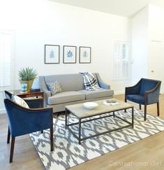 living room gray and navy - Most creative decoration list Home Living Room, Blue Chairs Living Room, Apartment Living Room, Coastal Living Rooms, Living Room Grey, Couches Living Room, Gold Living Room, Living Room Decor Gray, Navy Blue Living Room