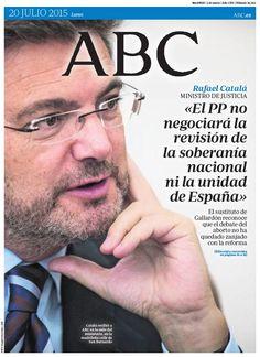 Ya está disponible la portada de ABC del lunes 20 de julio en Kiosko y Más http://ww.abc.es/POeeJ