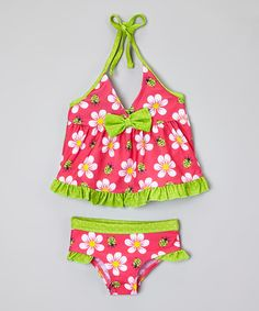 Love this Pink & Green Ruffle Bow Tankini - Infant & Toddler on #zulily! #zulilyfinds
