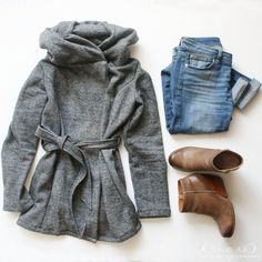 favorite looks for fall / jones design company sweatshirt coat, skinny jeans, booties