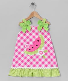 Pink & Green Gingham Watermelon Dress - Infant, Toddler & Girls