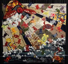 """""""Ready, Set, Go!"""" By Hiromi Tanaka of Japan.  This quilt was exhibited at IQA Houston 2012."""