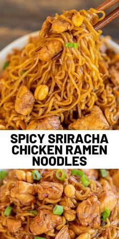 Spicy Sriracha Chicken Noodles – ready to eat in 15 minutes! No joke! SO easy! Only 6 ingredients – Chicken, ramen noodles, brown sugar, soy [. Ramen Recipes, Spicy Recipes, Asian Recipes, Chicken Recipes, Dinner Recipes, Cooking Recipes, Healthy Recipes, Ethnic Recipes, Cooking Food