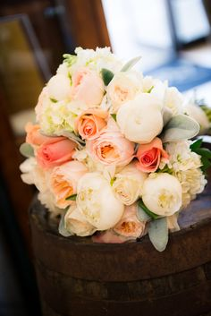 Peach Wedding Bouquet ~ Michele Conde Photography