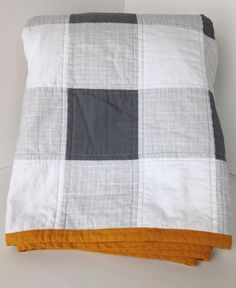 Grey Gingham Baby &Toddler quilt by mimimade4 on Etsy