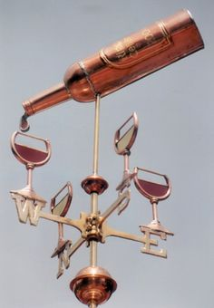 Wine Weathervane with Bottle and Four Glasses